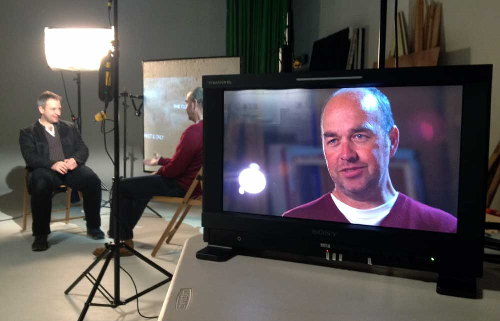 Magnus Wake interviewing Peter Flannery (on screen) for the crowd funding film.